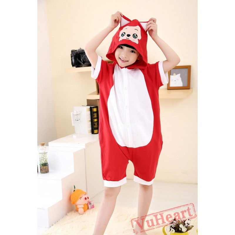 03b33fb9a Boys   Girls Cartoon Red Fox Summer Kigurumi Onesies Pajamas Costumes