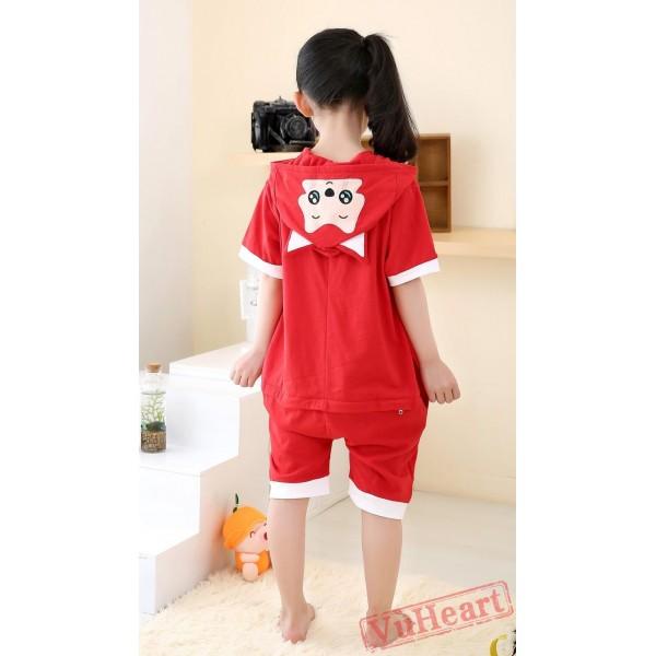 Cartoon Red Fox Summer Kigurumi Onesies Pajamas Costumes for Boys & Girls