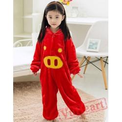 Red Pig Kigurumi Onesies Pajamas Costumes for Boys & Girls