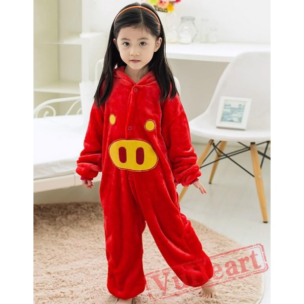 Red Pig Kigurumi Onesies Pajamas Costumes for Boys & Girls