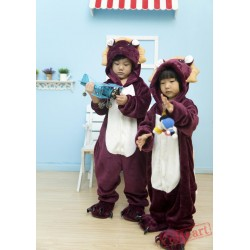 Purple Lion Kigurumi Onesies Pajamas Costumes for Boys & Girls