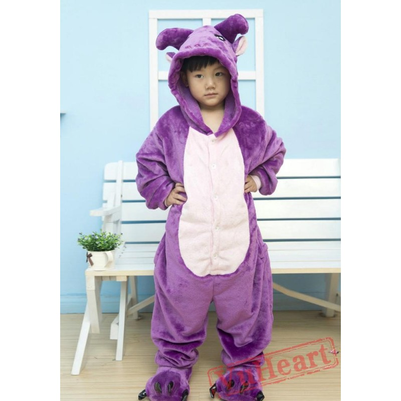 382145762749 Boys   Girls Purple Cow Kigurumi Onesies Pajamas Costumes Winter