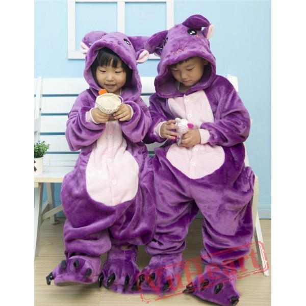 Purple Cow Kigurumi Onesies Pajamas Costumes for Boys & Girls Winter