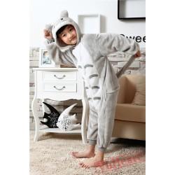 Grey Totoro Kigurumi Onesies Pajamas Costumes for Boys & Girls Winter Pajamas