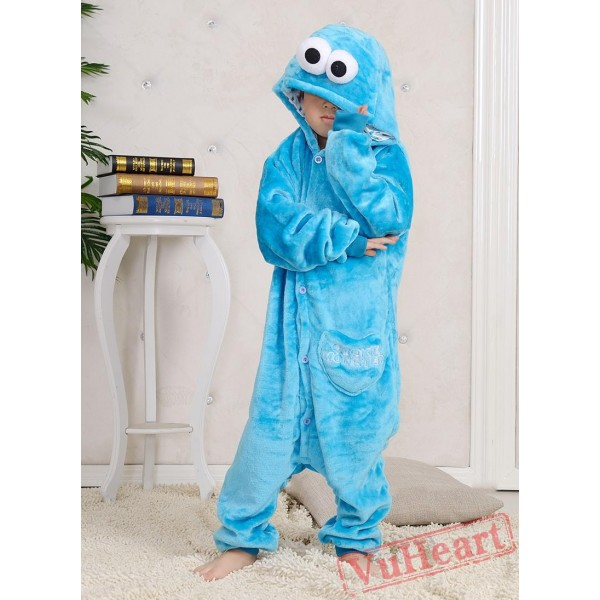 Sesame Street Cookie Blue Monster Kigurumi Onesies Pajamas Costumes for Boys & Girls