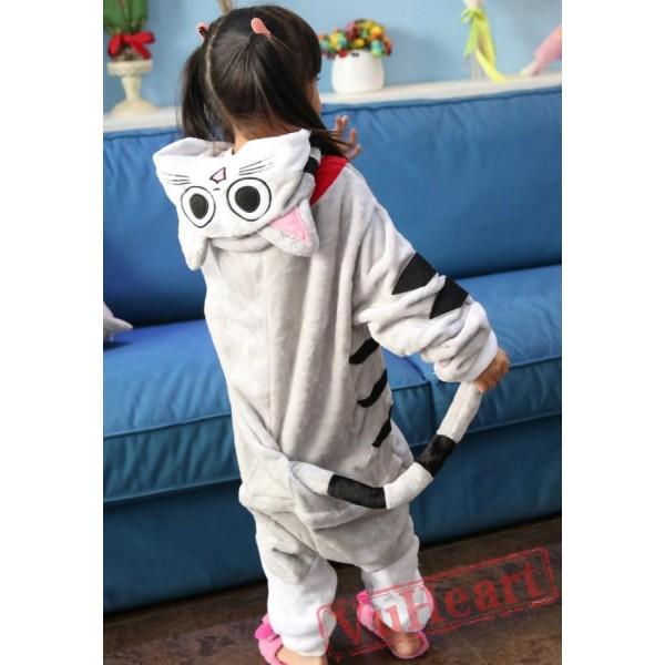 Grey Chi's Cat Kigurumi Onesies Pajamas Costumes for Boys & Girls Winter