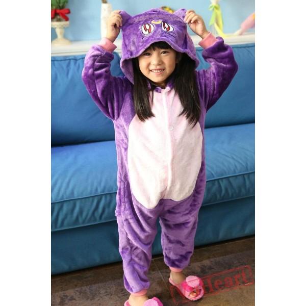 Sailor Moon Purple Cat Kid Luna Kigurumi Onesies Pajamas Costumes for Boys & Girls