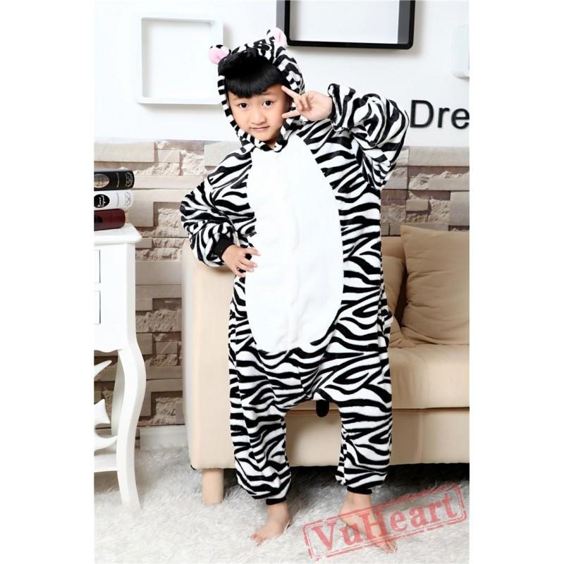 f16d41baba4f Boys   Girls Zebra Kigurumi Onesies Pajamas Costumes Winter