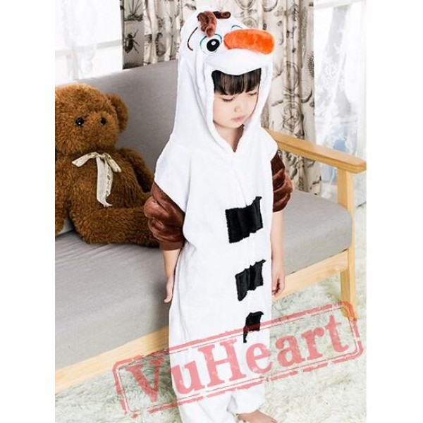 Frozen Olaf Snowman Kigurumi Onesies Pajamas Costumes for Boys & Girls Winter