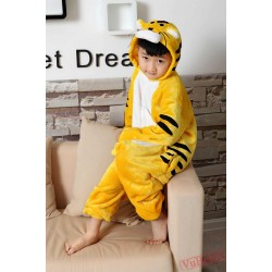 Yellow Tiger Kigurumi Onesies Pajamas Costumes for Boys & Girls Winter