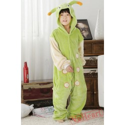Green Caterpillar Worm Tangbao Kigurumi Onesies Pajamas Costumes for Boys & Girls