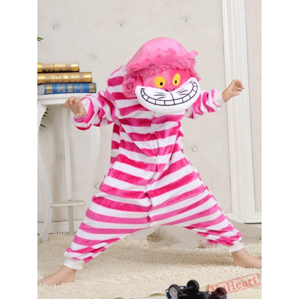 Cartoon Pink Cheshire Cat Kigurumi Onesies Pajamas Costumes for Boys & Girls Winter