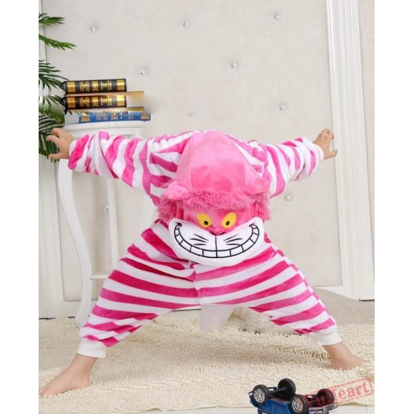 Cartoon Pink Cheshire Cat Kigurumi Onesies Pajamas Costumes for Boys & Girls Winter