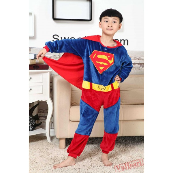 Super Hero Superman Kigurumi Onesies Pajamas Costumes for Boys & Girls Halloween