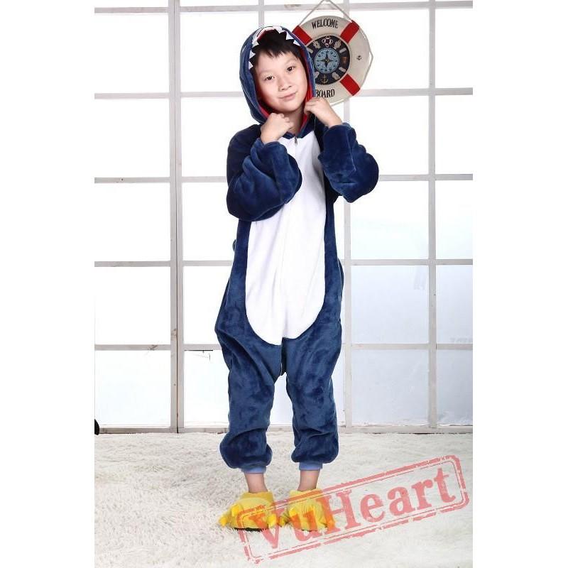 boys girls blue shark kigurumi onesies pajamas costumes winter blue shark kigurumi onesies pajamas costumes for boys girls winter