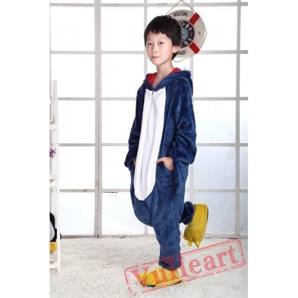 Blue Shark Kigurumi Onesies Pajamas Costumes for Boys & Girls Winter