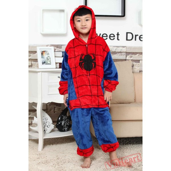 Super Hero Spiderman Kigurumi Onesies Pajamas Costumes for Boys & Girls Winter