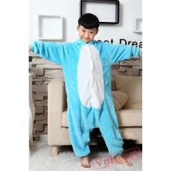 Blue Elephant Dumbo Kigurumi Onesies Pajamas Costumes for Boys & Girls