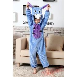 Blue Eeyore Donkey Kigurumi Onesies Pajamas Costumes for Boys & Girls Winter
