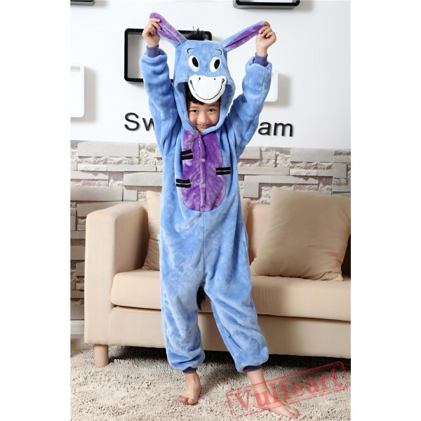 Blue Eeyore Donkey Kigurumi Onesies Pajamas Costumes for Boys & Girls Winter