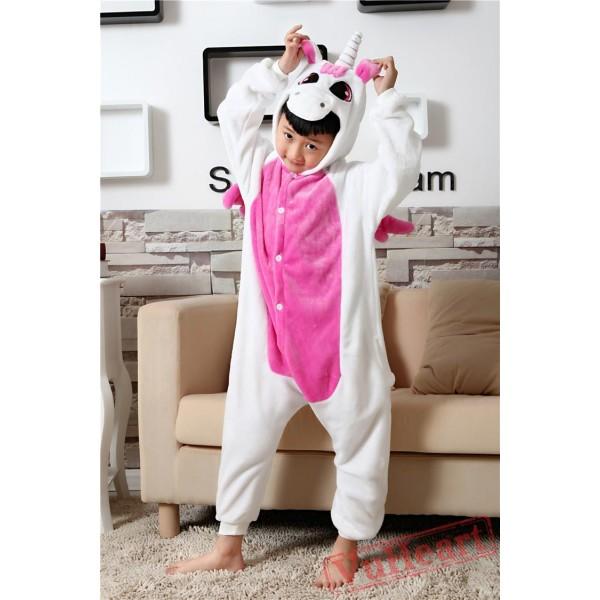 Pink Unicorn Kigurumi Onesies Pajamas Costumes for Boys & Girls Winter