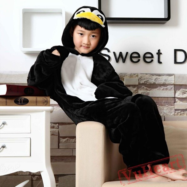 Black Penguin Kigurumi Onesies Pajamas Costumes for Boys & Girls Winter