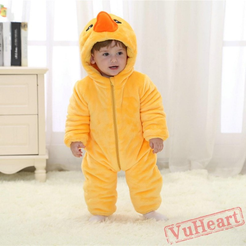 855fd7d6cc72 Baby Yellow Duck Kigurumi Onesies Winter Toddler Pajamas