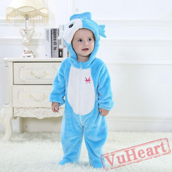 Pisces Blue Fish Kigurumi Onesies Pajamas Costumes Toddler Pajamas for Baby