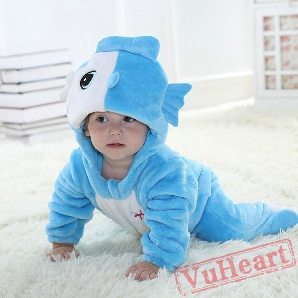 Pisces Blue Fish Kigurumi Onesies Pajamas Costumes Toddler Pajamas for Baby