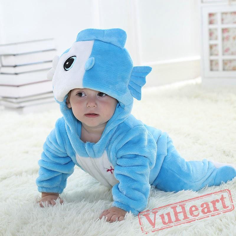 Baby Pisces Blue Fish Kigurumi Onesies Pajamas Costumes