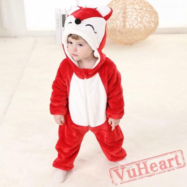 Red Fox Cartoon Kigurumi Onesies Pajamas Toddler Pajamas for Baby