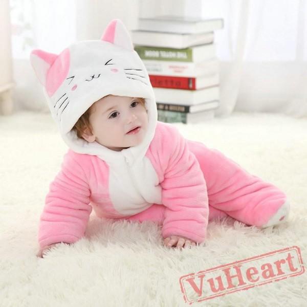 Pink Cat Kitty Kigurumi Onesies Pajamas Costumes Cartoon Pajamas for Baby