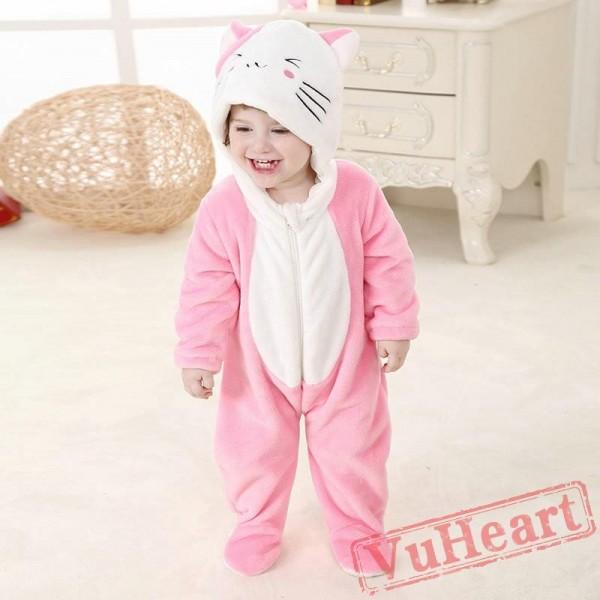 Pink Cat Kitty Kigurumi Onesies Pajamas Costumes for Baby