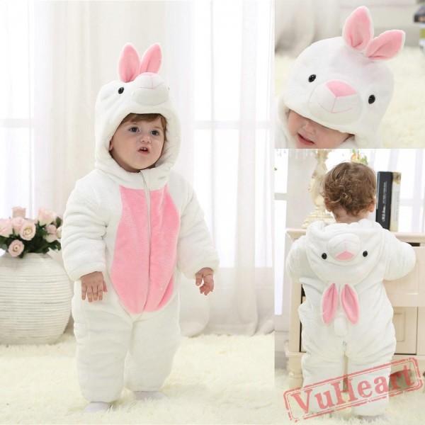 White Rabbit Kigurumi Onesies Pajamas Costumes Winter Pajamas for Baby
