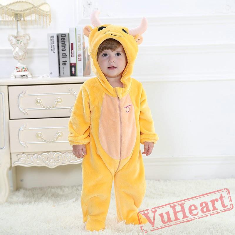 b61c6c8191ea Baby Taurus Yellow Cow Zodiac Kigurumi Onesies Pajamas Costumes ...