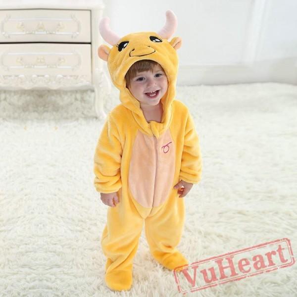 Taurus Yellow Cow Zodiac Kigurumi Onesies Pajamas Costumes Toddler Pajamas for Baby