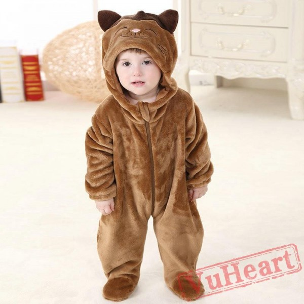 Brown Cat Kigurumi Onesies Pajamas Costumes Spring Pajamas for Baby