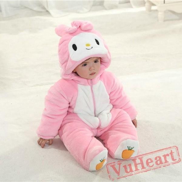 Bunny Rabbit Carrot Cartoon Kigurumi Onesies Pajamas Costumes Winter for Baby