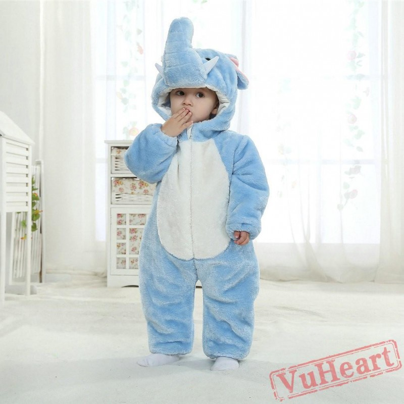 Baby Blue Elephant Kigurumi Onesies Pajamas Costumes