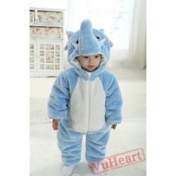 Blue Elephant Kigurumi Onesies Pajamas Costumes Winter Pajamas for Baby