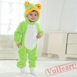 Green Frog Kigurumi Onesies Spring Costumes Cute Flannel Pajama for Baby