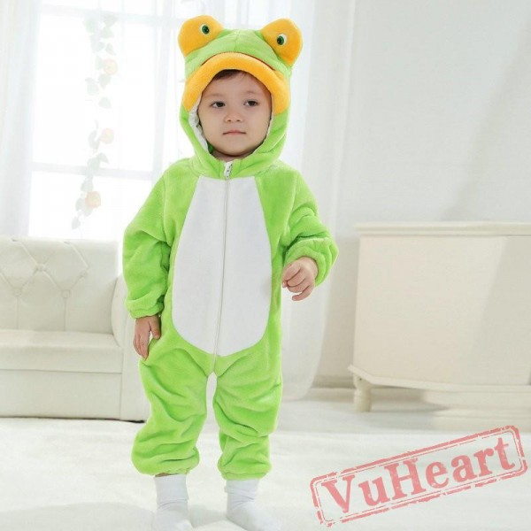 Green Frog Kigurumi Onesies Spring Costumes Cute Flannel Pajama for Baby