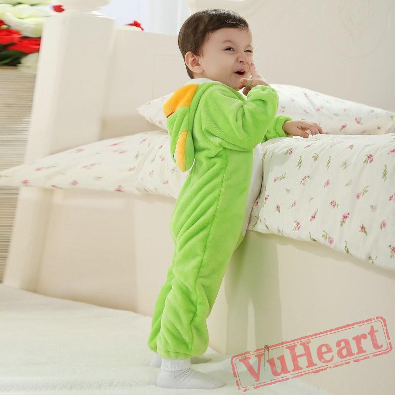 bb07685d59d4 Baby Green Frog Kigurumi Baby Onesies Spring Costumes Cute Flannel ...