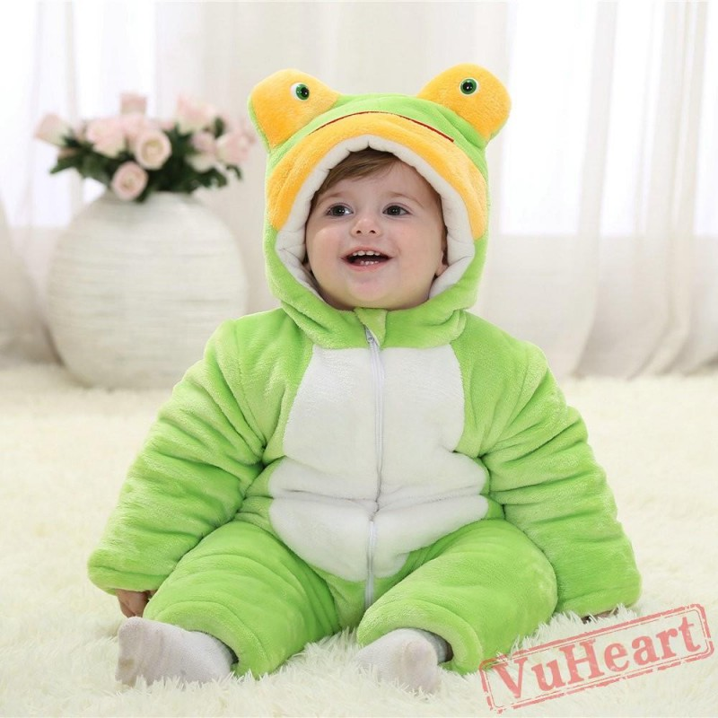 f4ff6a816cdf Baby Green Frog Kigurumi Onesies Pajamas Costumes Winter Pajamas