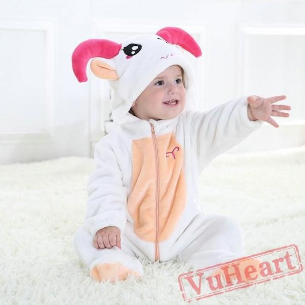 Aries White Sheep Zodiac Kigurumi Onesies Pajamas Costumes Toddler Pajamas for Baby