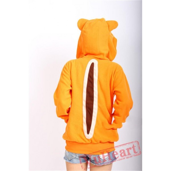 Squirrel Long Sleeve Cartoon Kigurumi Fleece Hoodie Coat Jacket