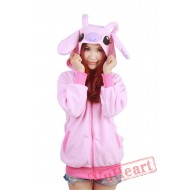 Pink Stitch Long Sleeve Cartoon Kigurumi Cotton Hoodie Coat Jacket
