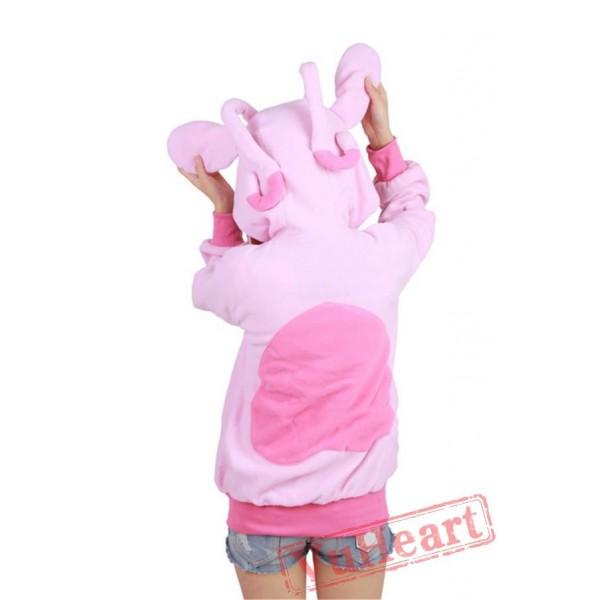 Pink Stitch Long Sleeve Cartoon Kigurumi Cotton Hoodie Coat Jacket