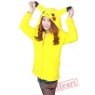 Pikachu Yellow Long Sleeve Cartoon Kigurumi Fleece Hoodie Coat Jacket