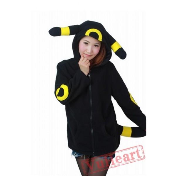 Pocket Monster Pokemon Umbreon Eevee Yellow Black Kigurumi Hoodie Coat